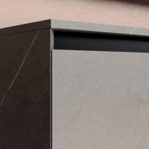 Badmöbel Serie CUBIK -Tür- und Schubladenfronten mit 45-Grad-Kanten