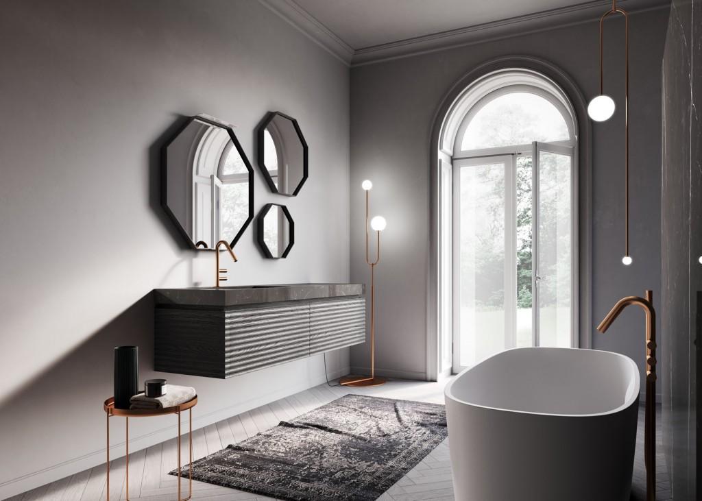 Badmöbel Dolcevita von Ideagroup. Waschbecken aus glänzendem Gres Marquinia, Spiegel Ottagono in Carbone