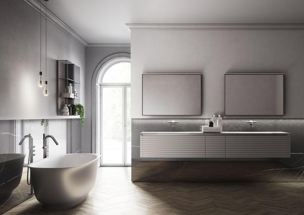 Badmöbel-dolcevita-ideagroup-Ausführung Metal matt lackiert Titanio-Spiegel Frame in der Ausführung Bianco