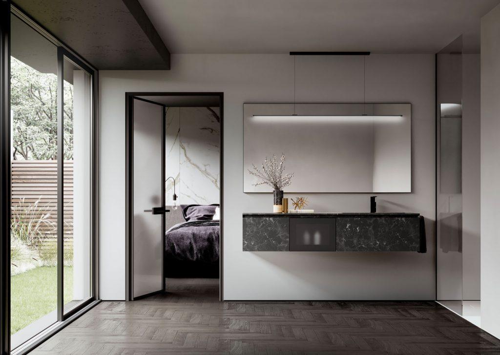 Badmöbel-Serie Cubik - Unterschränke aus Laminat Unicolor HPL Impero mit Fronten aus geätztem Glas mit Rahmen aus Aluminium Nero