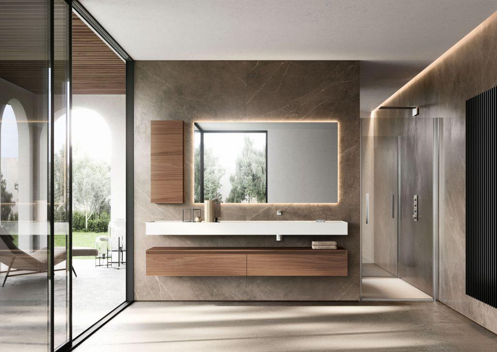 Badmöbel Serie- Cubik - Unterschränke und Hängeschrank aus Noce Canaletto, Platte aus Corian Bianco mit integriertem Waschbecken, Spiegel Side