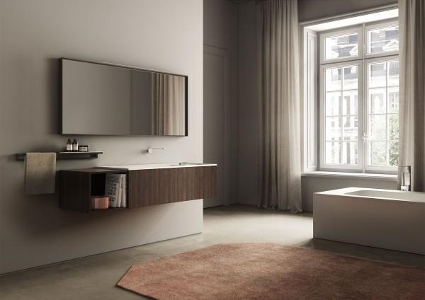 Badmöbel_dogma_ideagroup - Unterschränke aus Rovere Termocotto, Platte Dogma aus Cristalplant mit integriertem Waschbecken