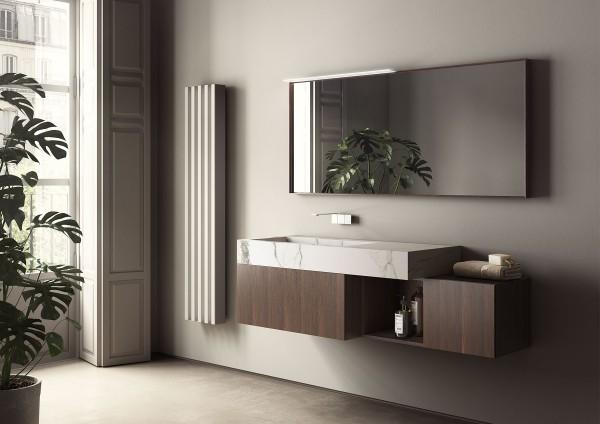 Badmöbel_dogma_ideagroup - Unterschränke aus Rovere Termocotto, Platte mit integriertem Waschbecken aus Gres Statuario Matt