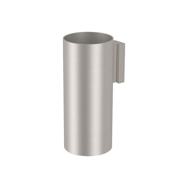 Glas mit Stahl-Stand, alles aus gebürstetem Edelstahl
