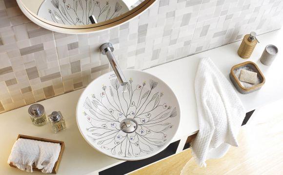 Keramik Waschbecken mit Hand Malerei