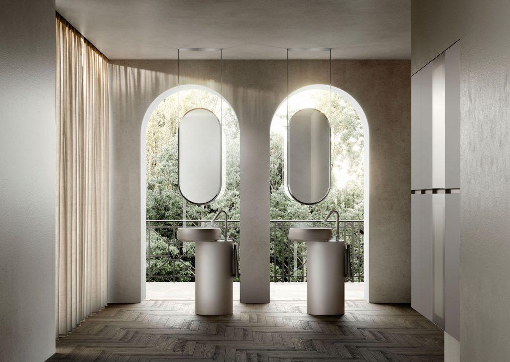 Bodenstehende Waschtisch-Unterschränke Beauty aus Cristalplant Bianco mit Außenseite in der Lackausführung Metal Color Titanio